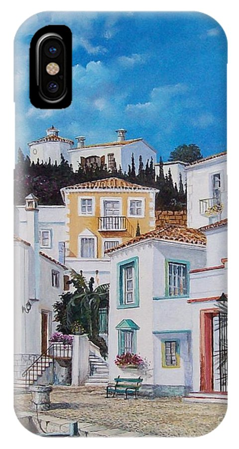 Cityscape IPhone X Case featuring the painting Afternoon Light In Montenegro by Sinisa Saratlic