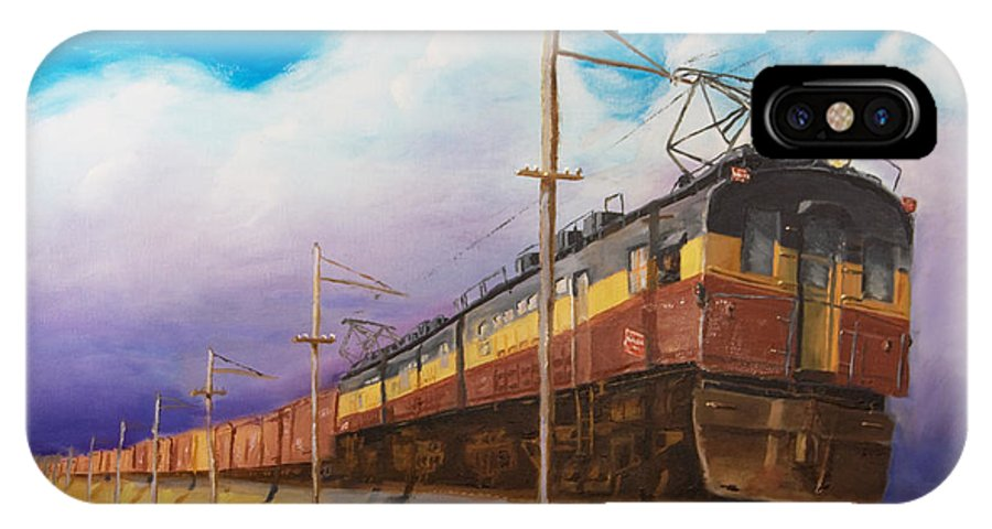 Electric Locomotive IPhone X Case featuring the painting Ahead Of The Weather by Christopher Jenkins