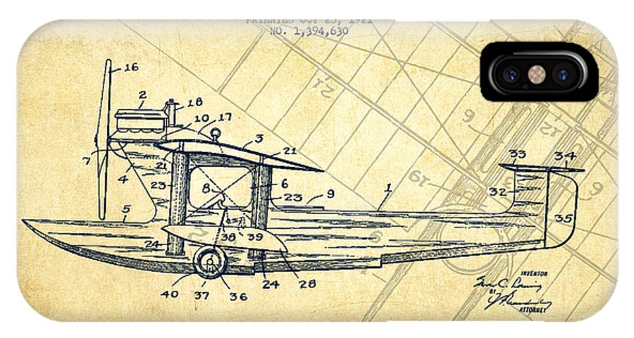 Airplane IPhone X / XS Case featuring the digital art Airplane Patent Drawing From 1921-vintage by Aged Pixel