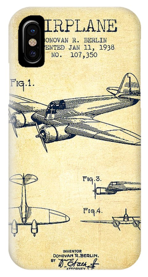 Airplane IPhone X / XS Case featuring the digital art Airplane Patent Drawing From 1938-vintage by Aged Pixel