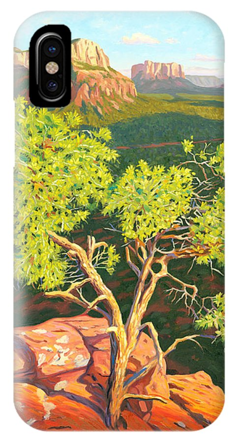 Pinion Pine Tree IPhone Case featuring the painting Airport Mesa Vortex - Sedona by Steve Simon