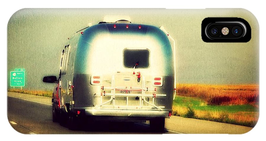 Airstream IPhone X Case featuring the photograph Airstream Rolling Down The Highway by Beth Ferris Sale