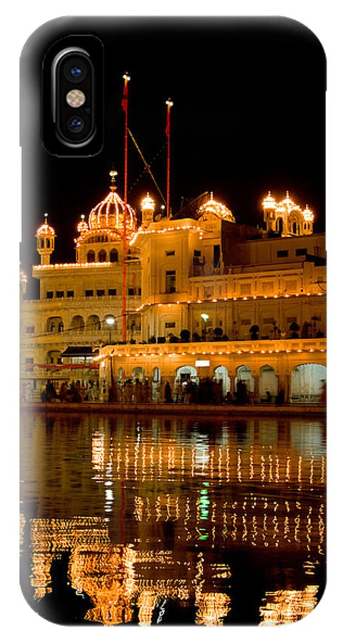 Golden Temple IPhone X Case featuring the photograph Akal Takht At Night by Devinder Sangha