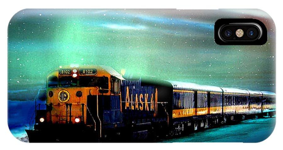 Alaska IPhone X Case featuring the photograph Alaska Aurora Train # Da 080 by Dianne Roberson
