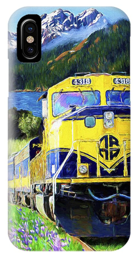 Railroad IPhone Case featuring the painting Alaska Railroad by David Wagner