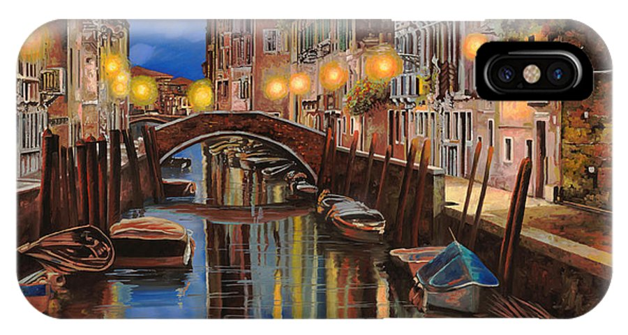 Venice IPhone X Case featuring the painting alba a Venezia by Guido Borelli