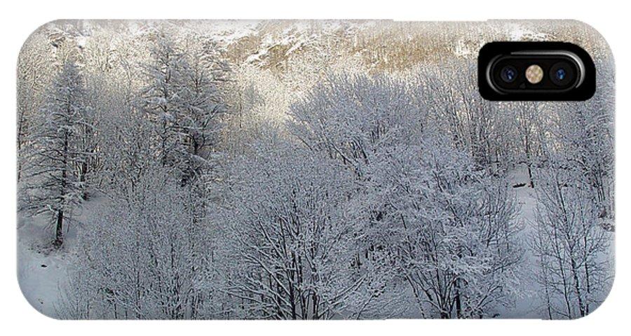 Nature IPhone X Case featuring the photograph Alberi Innevati by Niki Mastromonaco