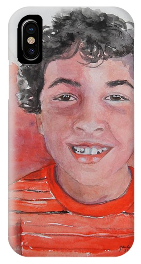 Portrait IPhone X Case featuring the painting Alec by Paula Day