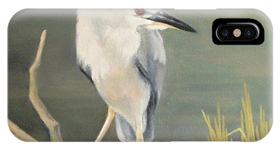 Black-crowned Night Heron IPhone X Case featuring the painting Alert by Carol Reynolds