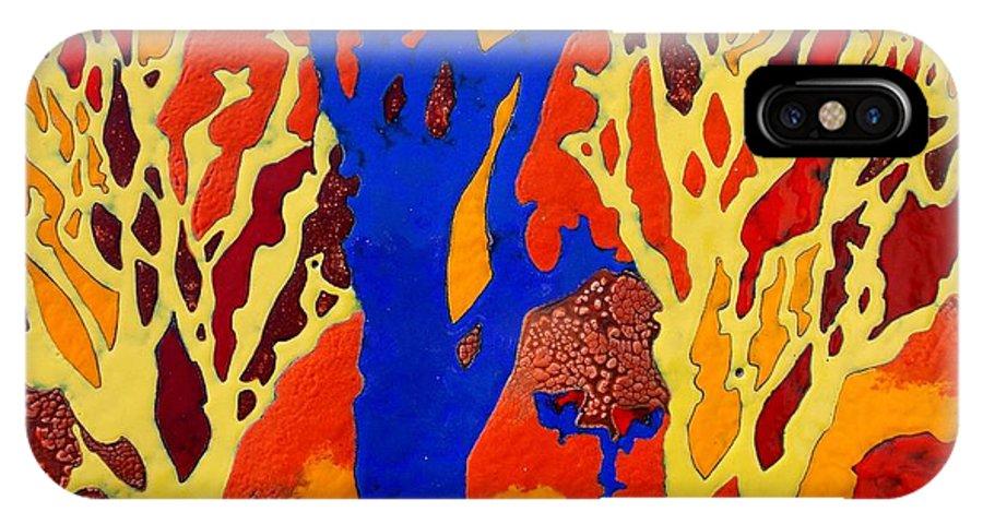 Trees IPhone X Case featuring the painting Aleshinsky Path by Olga Aleksandrova