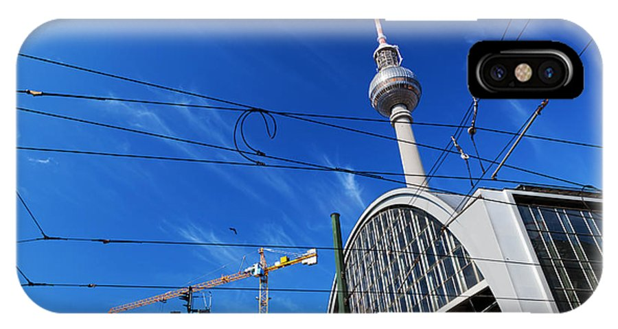 Berlin IPhone X Case featuring the photograph Alexanderplatz Sign And Television Tower Berlin Germany by Michal Bednarek