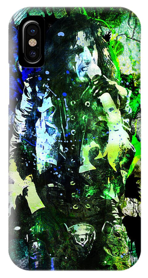 Music IPhone X Case featuring the painting Alice Cooper - Feed My Frankenstein - Original Painting Print by Ryan Rock Artist