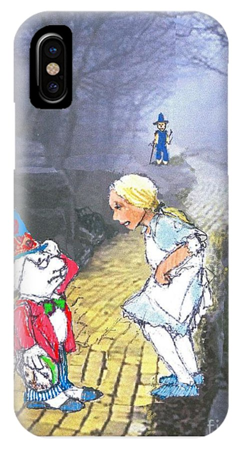 Alice IPhone X Case featuring the drawing Alice Lost by Herb Russel