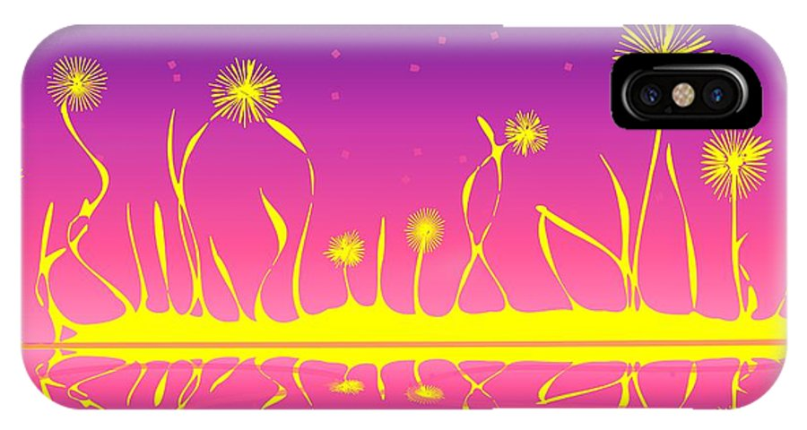 Malakhova IPhone X Case featuring the digital art Alien Fire Flowers by Anastasiya Malakhova