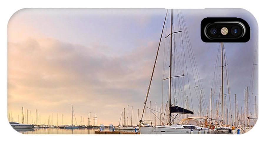 Marina IPhone X Case featuring the photograph Alimos Reflections by Milan Gonda