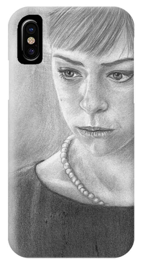 Alison Hendrix IPhone X Case featuring the drawing Alison Hendrix by Annabelle Pickering