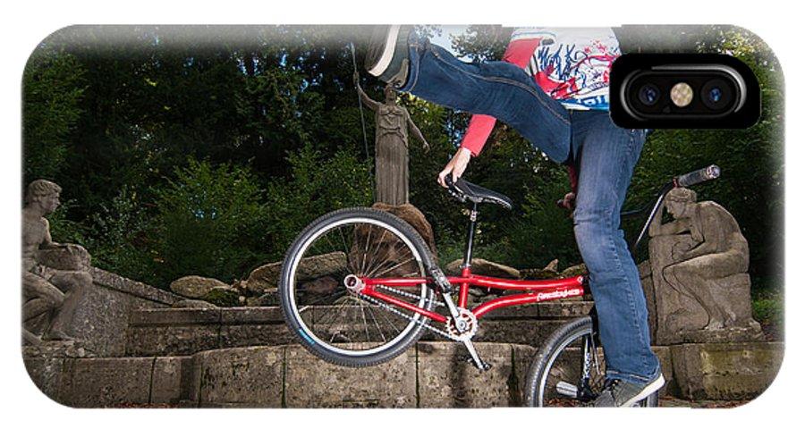 Bmx Flatland IPhone X Case featuring the photograph Alive And Kicking - Bmx Flatland Power Girl by Matthias Hauser