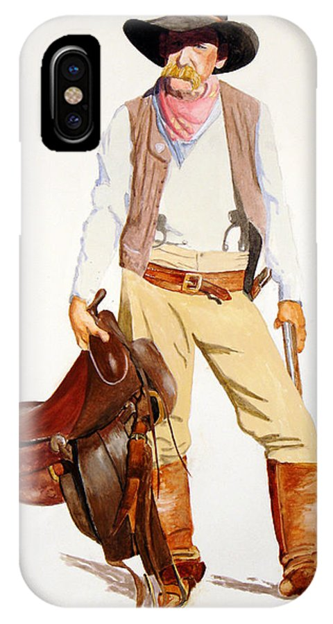 Framed Rodeo Prints IPhone X Case featuring the painting All I Want Is A Horse by Joe Prater
