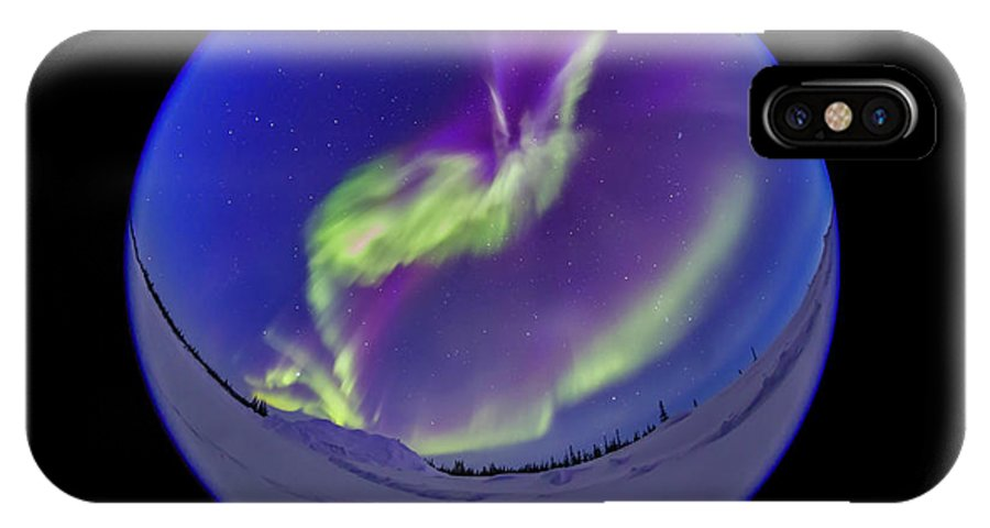 360� IPhone X Case featuring the photograph All-sky Aurora In The Twilight by Alan Dyer