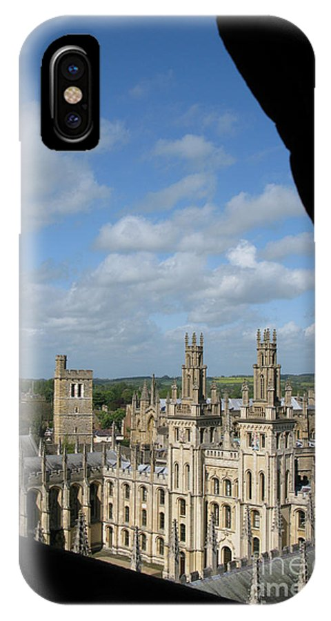 Oxford University IPhone X Case featuring the photograph All Souls College And Beyond by Ann Horn