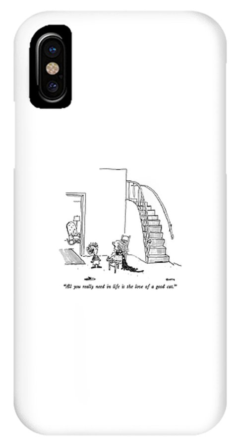 Animals IPhone X Case featuring the drawing All You Really Need In Life Is The Love Of A Good by George Booth