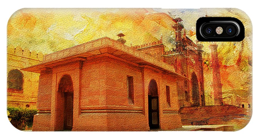 Pakistan IPhone X Case featuring the painting Allama Iqbal Tomb by Catf