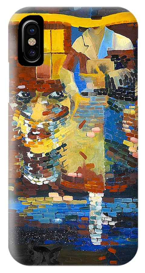 Abstraction IPhone X Case featuring the painting Alley by Lynette Yencho