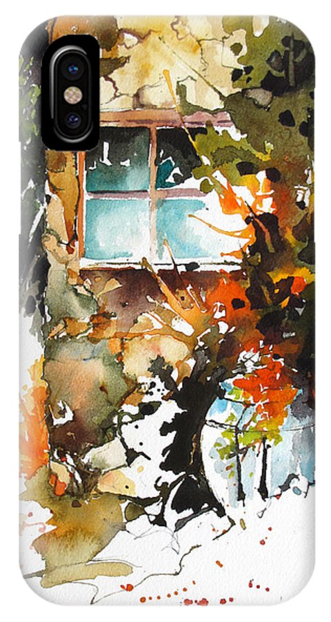 Sheds IPhone X Case featuring the painting Alleyway Charm by Rae Andrews