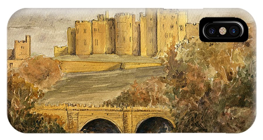 Alnwick IPhone X Case featuring the painting Alnwick Castle by Juan Bosco