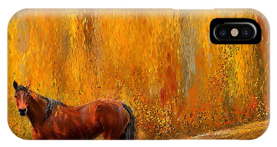 Bay Horse Paintings IPhone X / XS Case featuring the painting Alone In Grandeur- Bay Horse Paintings by Lourry Legarde