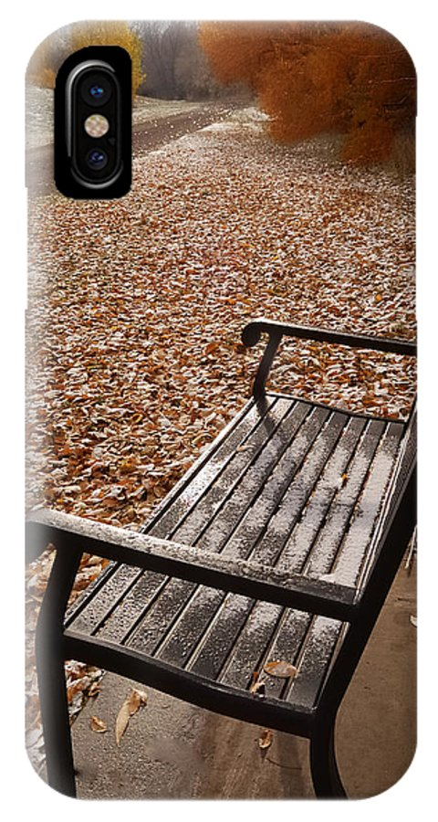 Benches IPhone X Case featuring the photograph Alone With Autumn by Steven Milner