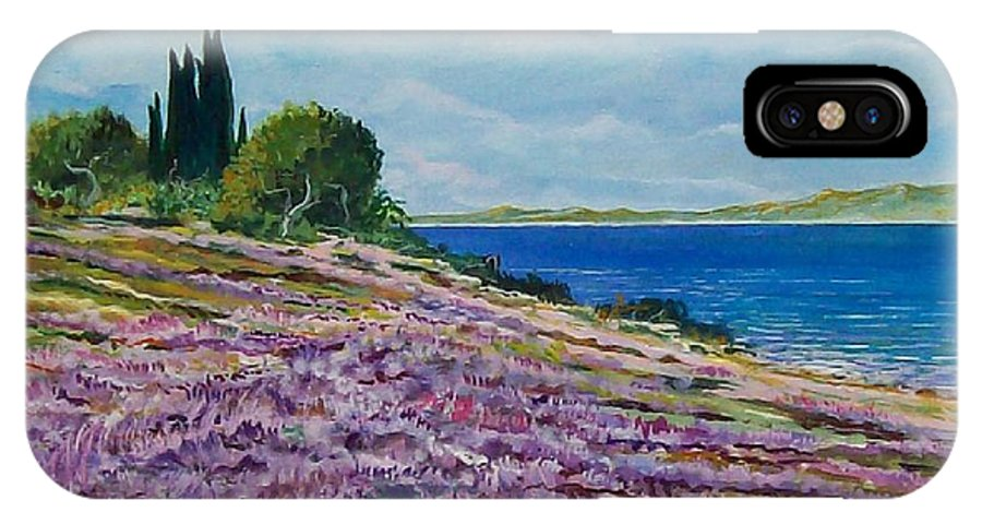Landscape IPhone X Case featuring the painting Along The Shore by Sinisa Saratlic