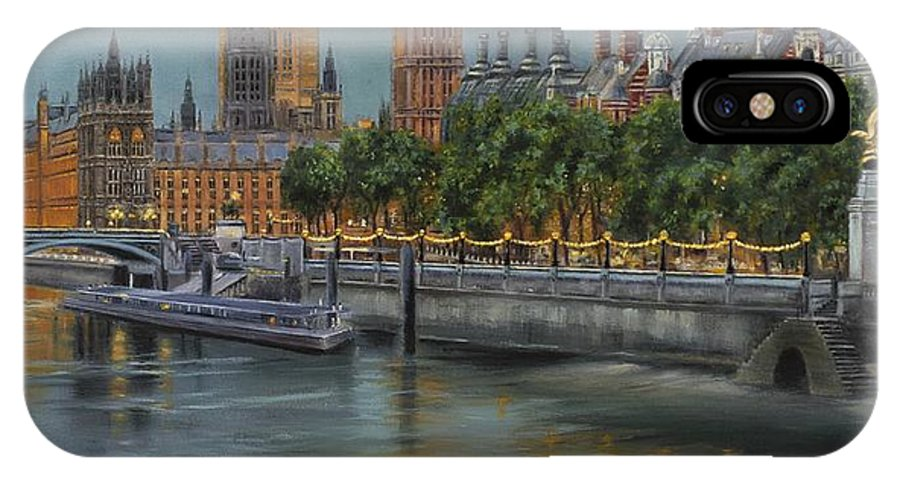 London IPhone X Case featuring the painting Along The Thames At Night by Gulay Berryman