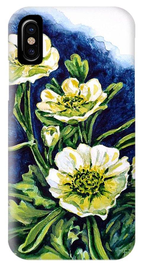 Alpine Ranunculus IPhone X Case featuring the painting Alpine Ranunculus by Zaira Dzhaubaeva