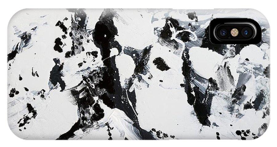 Black And White Painting IPhone X Case featuring the painting Alps In Black And White by Lidija Ivanek - SiLa