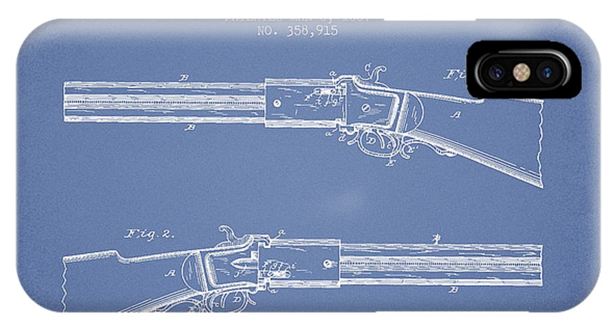 Rifle Patent IPhone X / XS Case featuring the digital art Alston Firearm Patent Drawing From 1887- Light Blue by Aged Pixel
