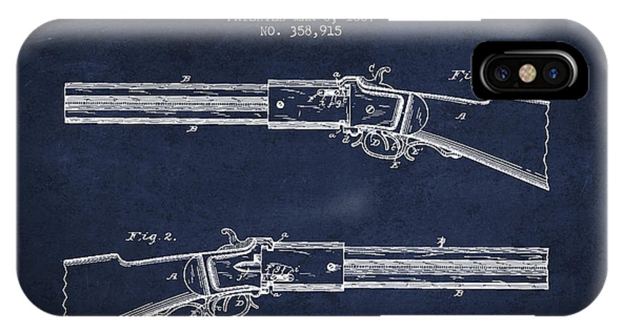 Rifle Patent IPhone X / XS Case featuring the digital art Alston Firearm Patent Drawing From 1887- Navy Blue by Aged Pixel