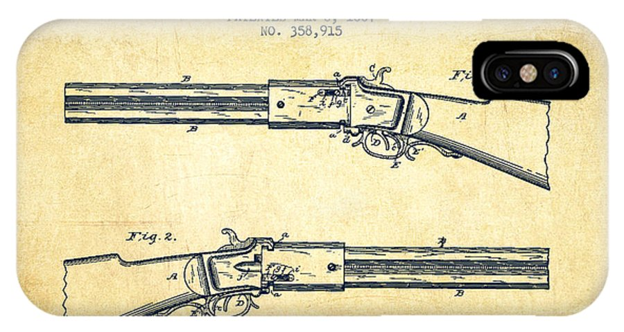 Rifle Patent IPhone X / XS Case featuring the digital art Alston Firearm Patent Drawing From 1887- Vintage by Aged Pixel