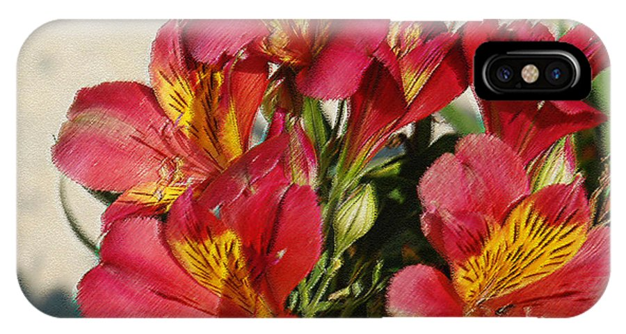 Alstroemeria IPhone X Case featuring the photograph Alstroemeria In Pastel by Suzanne Gaff