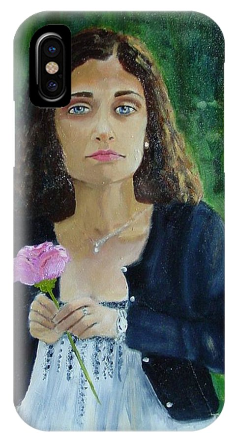 Portrait IPhone X Case featuring the painting Aly by Laurie Morgan