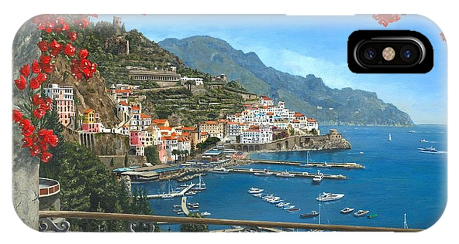 Landscape IPhone X Case featuring the painting Amalfi Vista by Richard Harpum