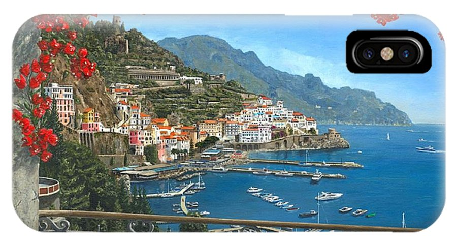 Landscape IPhone X Case featuring the painting Amalfi Vista by Richard Harpum