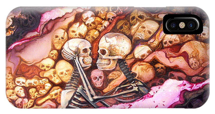 Skeletons IPhone X Case featuring the painting Amar Pa Siempre by Angel Ortiz