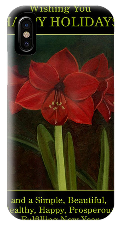 Amaryllis IPhone X Case featuring the painting Amaryllis Flower Holiday Card by Nancy Griswold