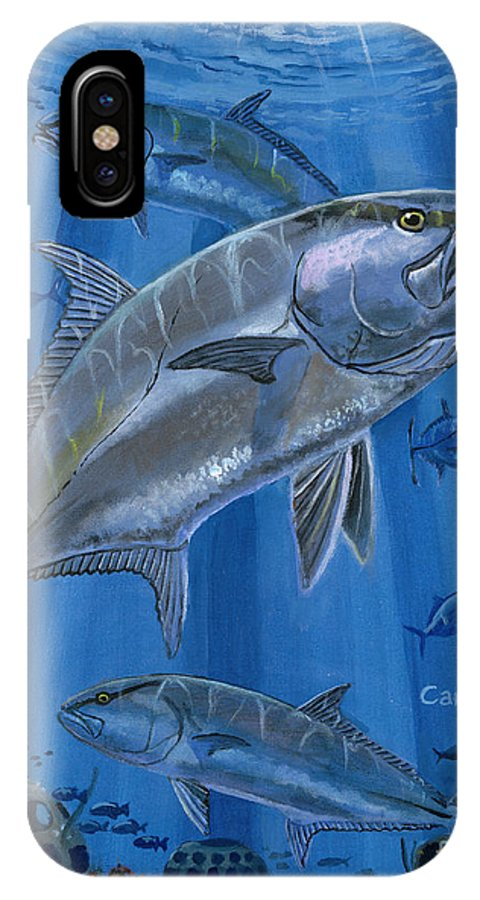Amberjack IPhone X / XS Case featuring the painting Amberjack In0029 by Carey Chen