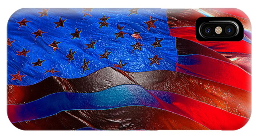 American Flag IPhone X Case featuring the painting America Rising by David Lee Thompson