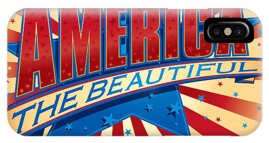 America IPhone X Case featuring the digital art America The Beautiful by Barry Orkin