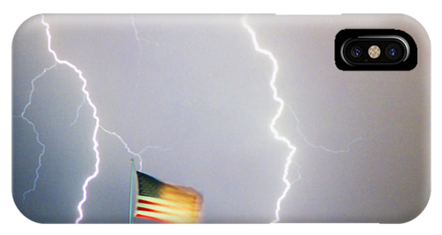 Lightning; Lightening; American Flag; Usa; Americana; Storm; Weather; Nature IPhone X Case featuring the photograph American Flag Lightning Strikes by James BO Insogna