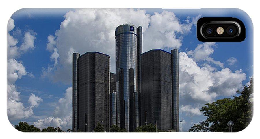Architecture IPhone X Case featuring the photograph The Detroit Renaissance Center by Gej Jones