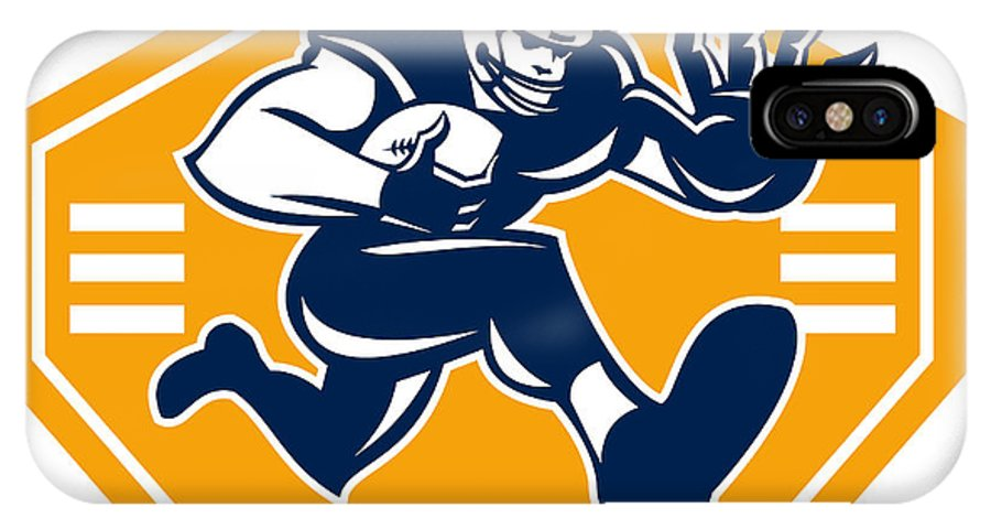 American Football IPhone X Case featuring the digital art American Football Running Back Stiff Arm by Aloysius Patrimonio